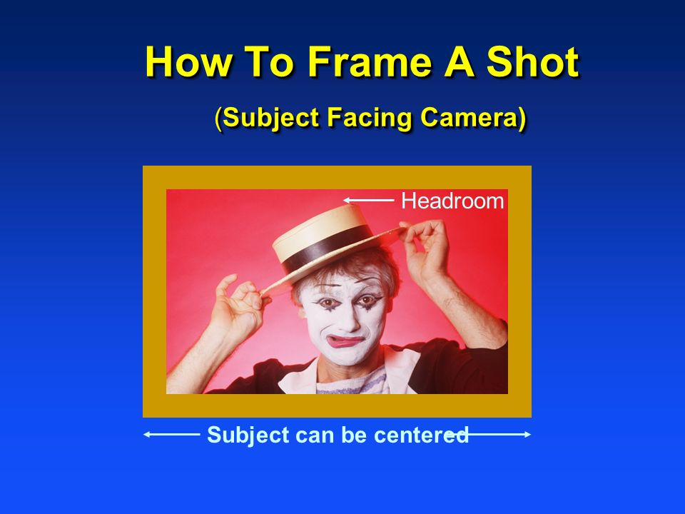 How To Frame A Shot (Subject Facing Camera)
