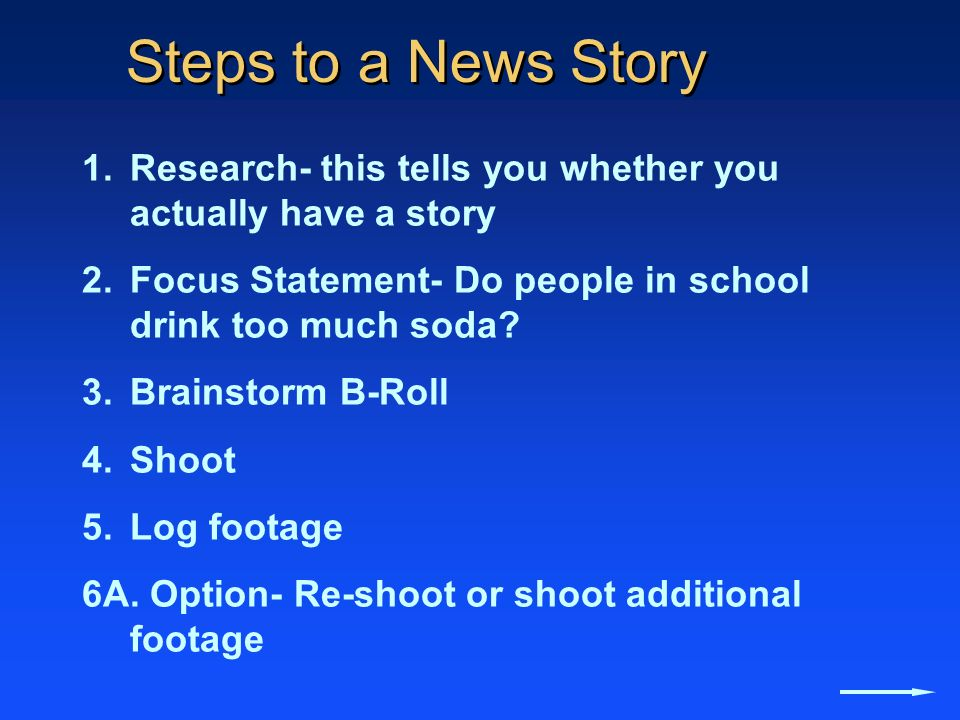 Steps to a News Story Research- this tells you whether you actually have a story. Focus Statement- Do people in school drink too much soda