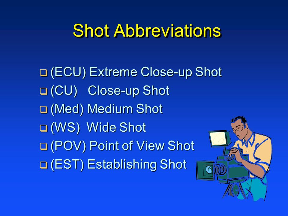 Shot Abbreviations (ECU) Extreme Close-up Shot (CU) Close-up Shot