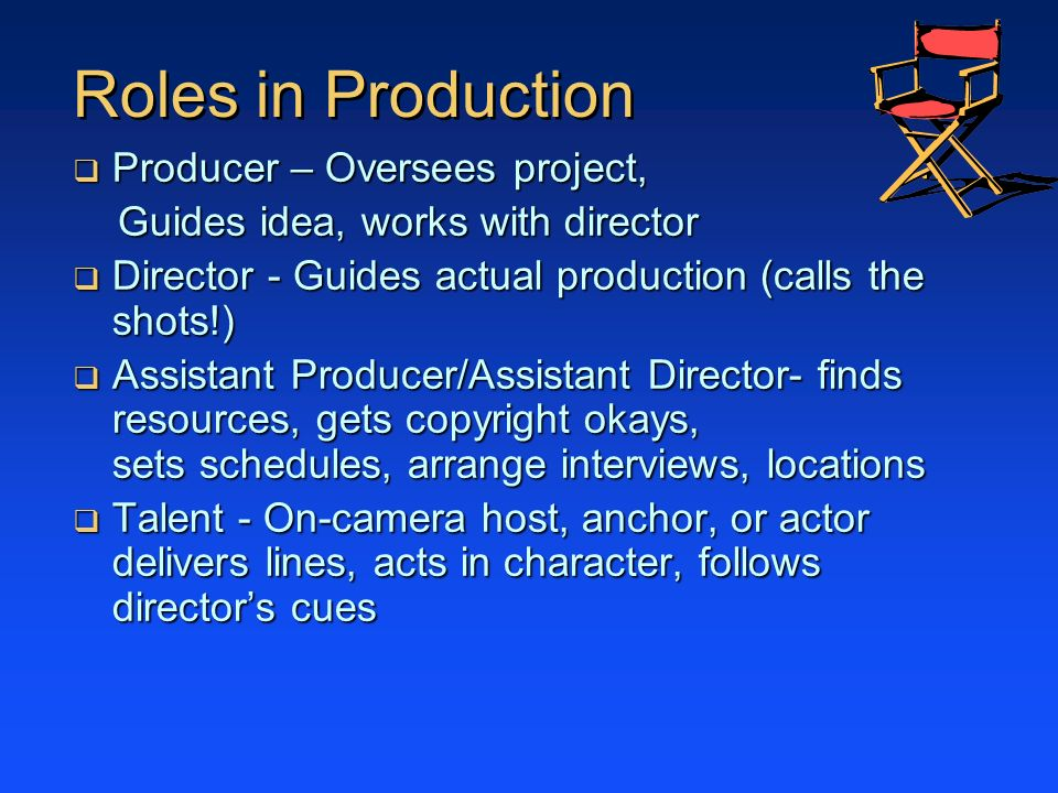 Roles in Production Producer – Oversees project,