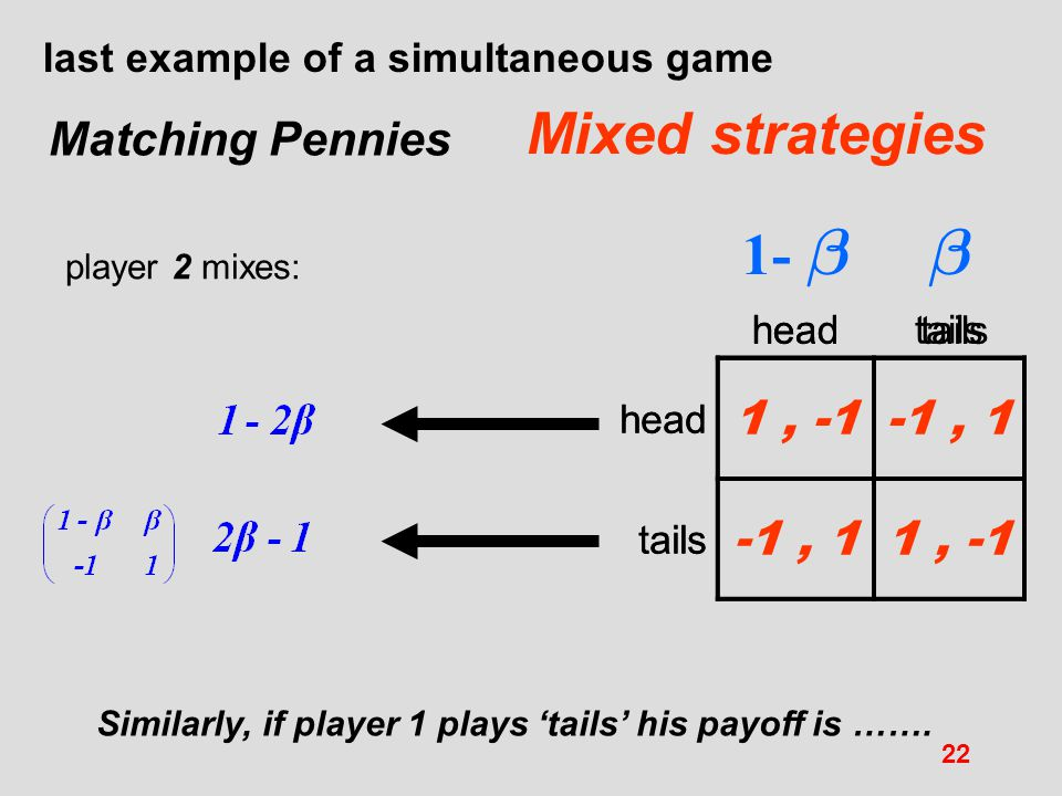  1-  Mixed strategies Matching Pennies 1 , -1 -1 , 1 1 , -1 -1 , 1
