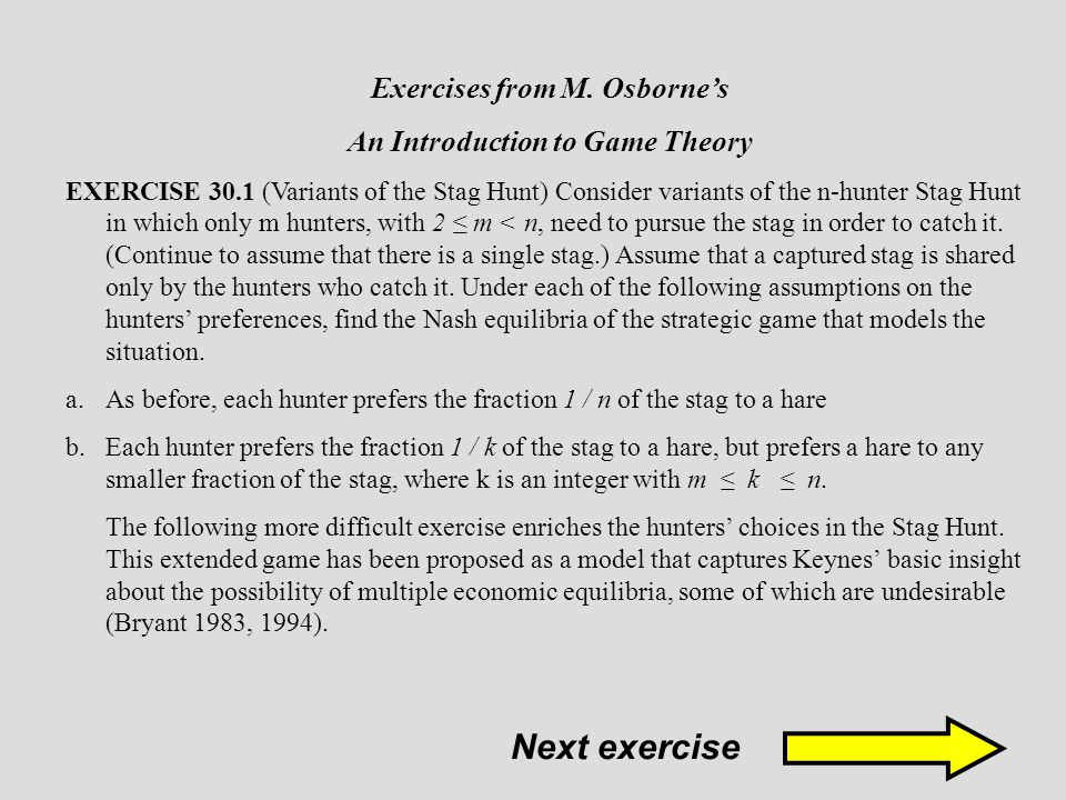Exercises from M. Osborne's An Introduction to Game Theory