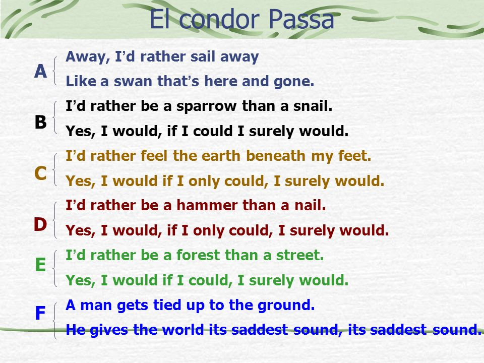 El condor Passa A B C D E F Away, I'd rather sail away