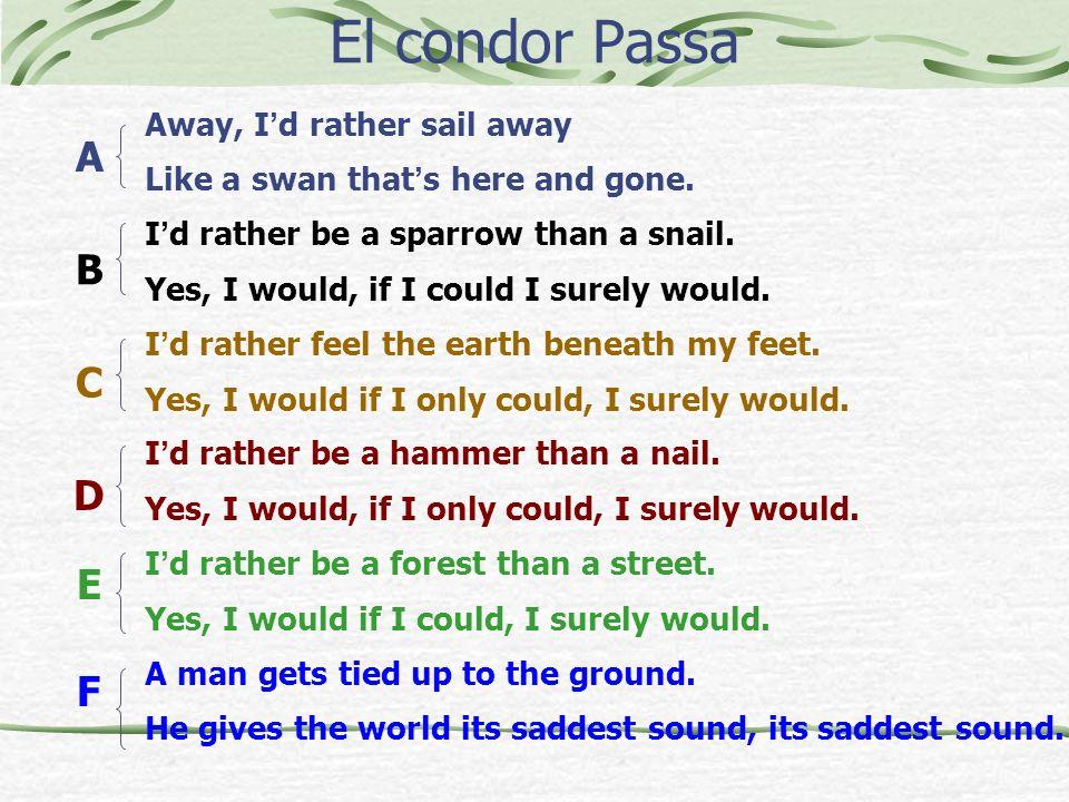 El condor Passa A B C D E F Away, I'd rather sail away