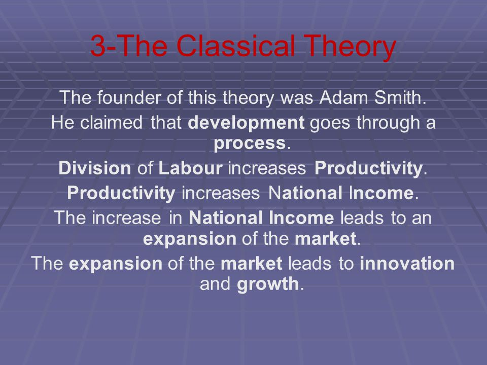 3-The Classical Theory The founder of this theory was Adam Smith.