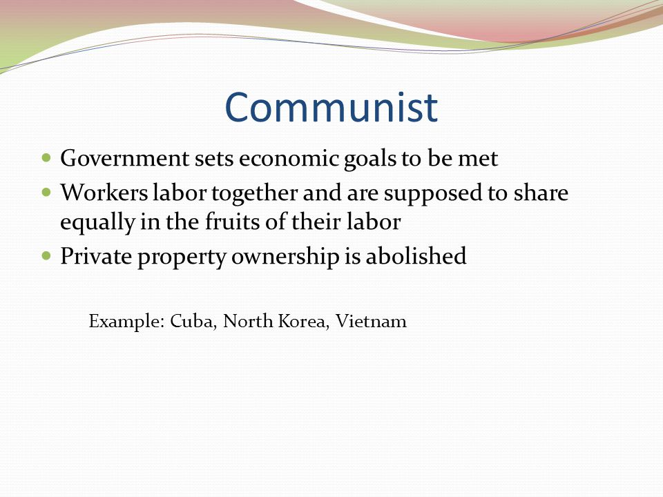 Communist Government sets economic goals to be met