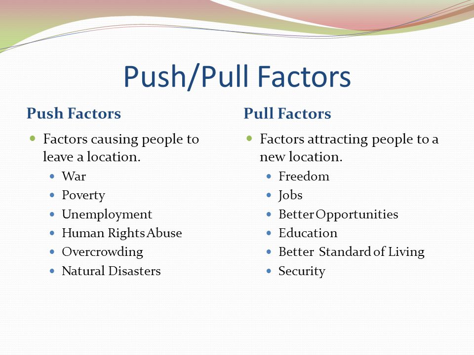 push and pull factors A secondary school revision resource for gcse geography on migration trends -  push and pull factors, emigration and immigration and different patterns of.