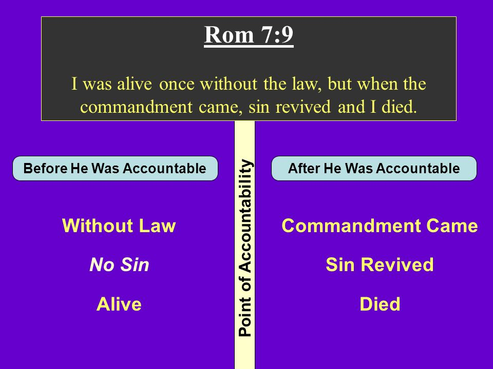 Rom 7:9 I was alive once without the law, but when the commandment came, sin revived and I died. Before He Was Accountable.