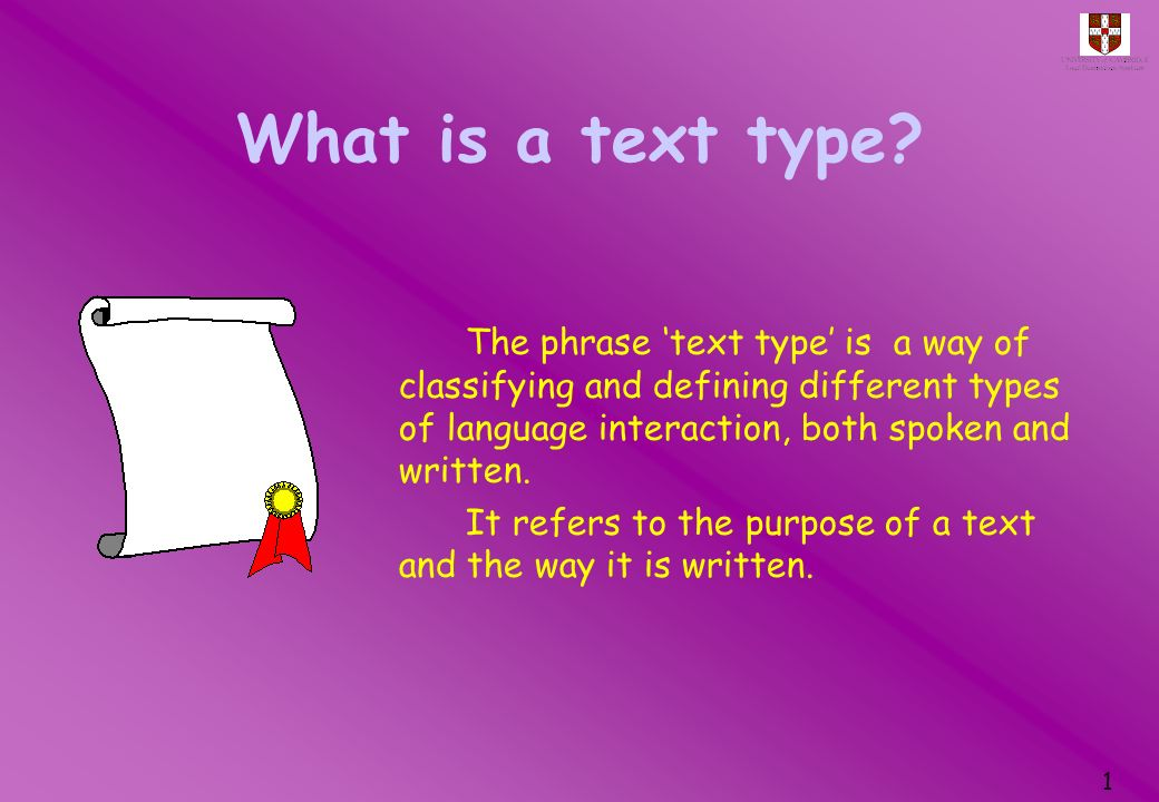 What is a text type The phrase 'text type' is a way of classifying and defining different types of language interaction, both spoken and written.