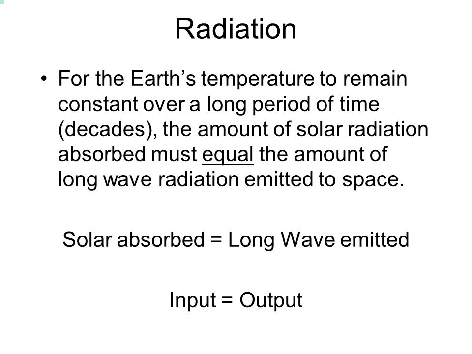 Solar absorbed = Long Wave emitted