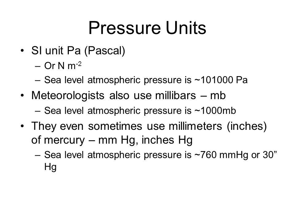 Pressure Units SI unit Pa (Pascal)