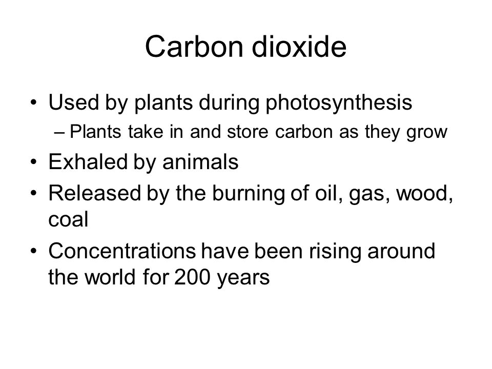 Carbon dioxide Used by plants during photosynthesis Exhaled by animals