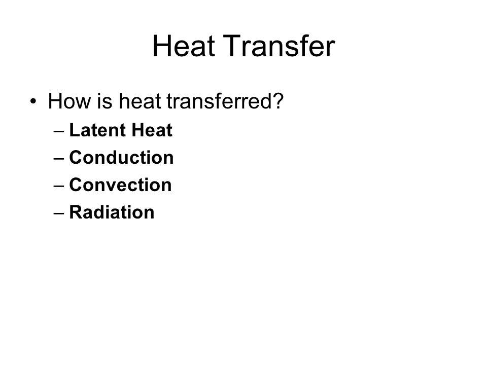 Heat Transfer How is heat transferred Latent Heat Conduction