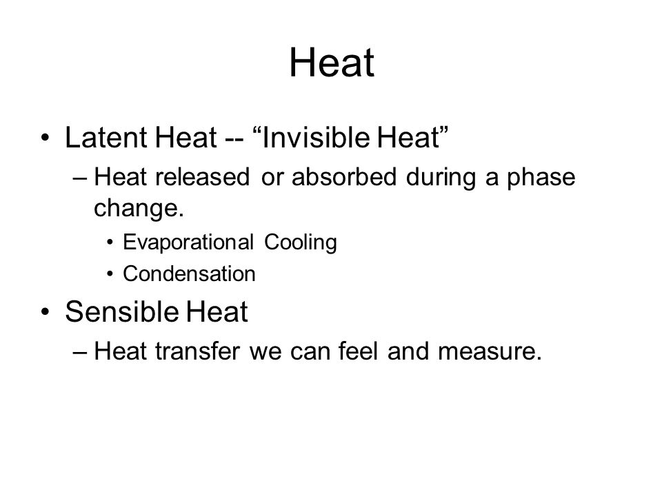 Heat Latent Heat -- Invisible Heat Sensible Heat
