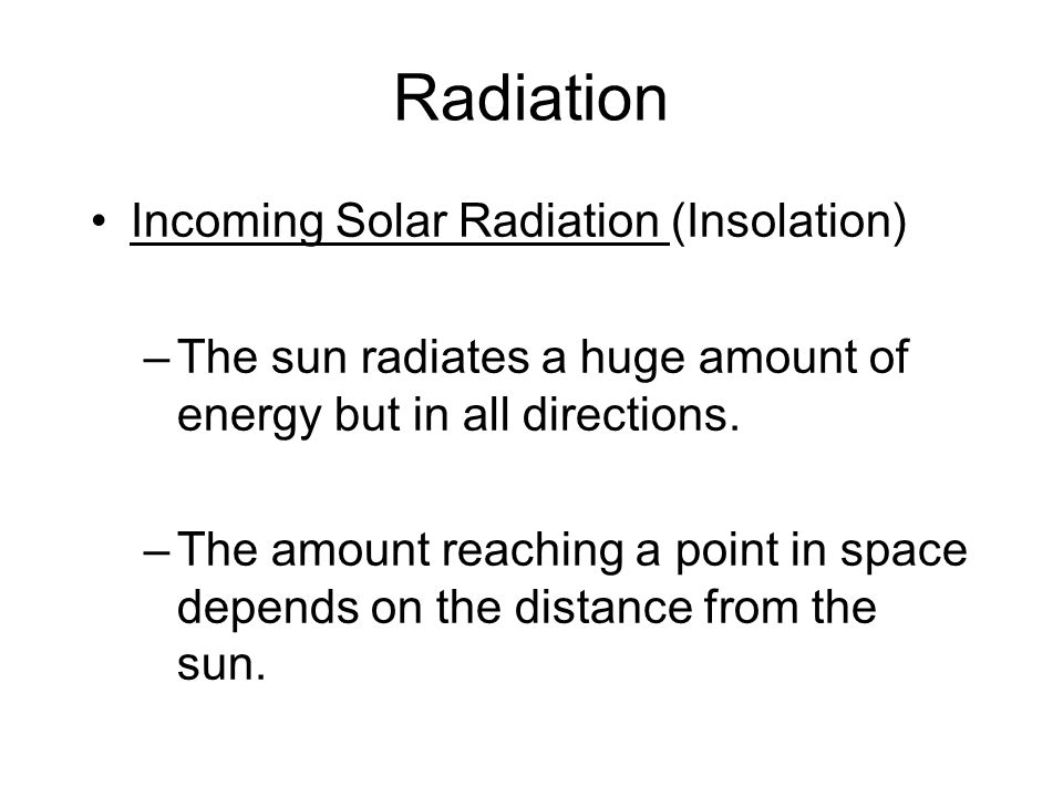 Radiation Incoming Solar Radiation (Insolation)