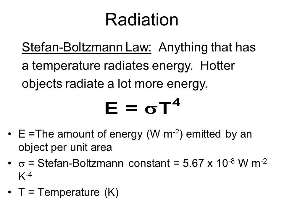 Radiation Stefan-Boltzmann Law: Anything that has