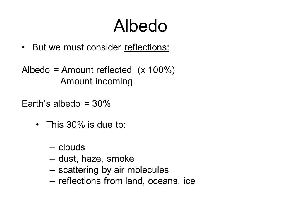Albedo But we must consider reflections: