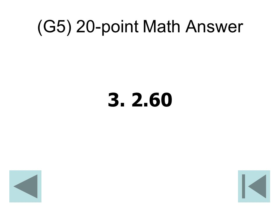 (G5) 20-point Math Answer
