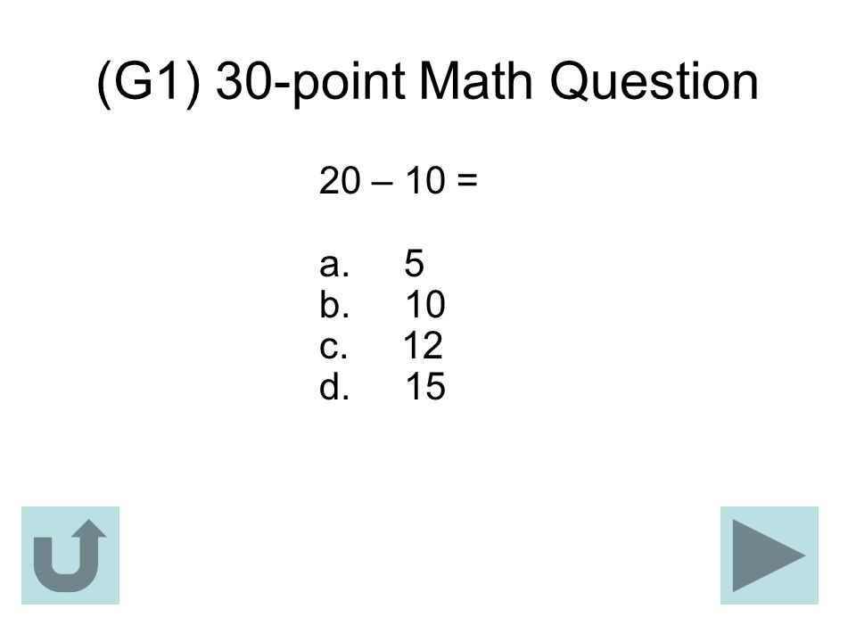 (G1) 30-point Math Question
