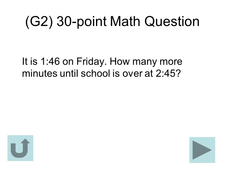 (G2) 30-point Math Question