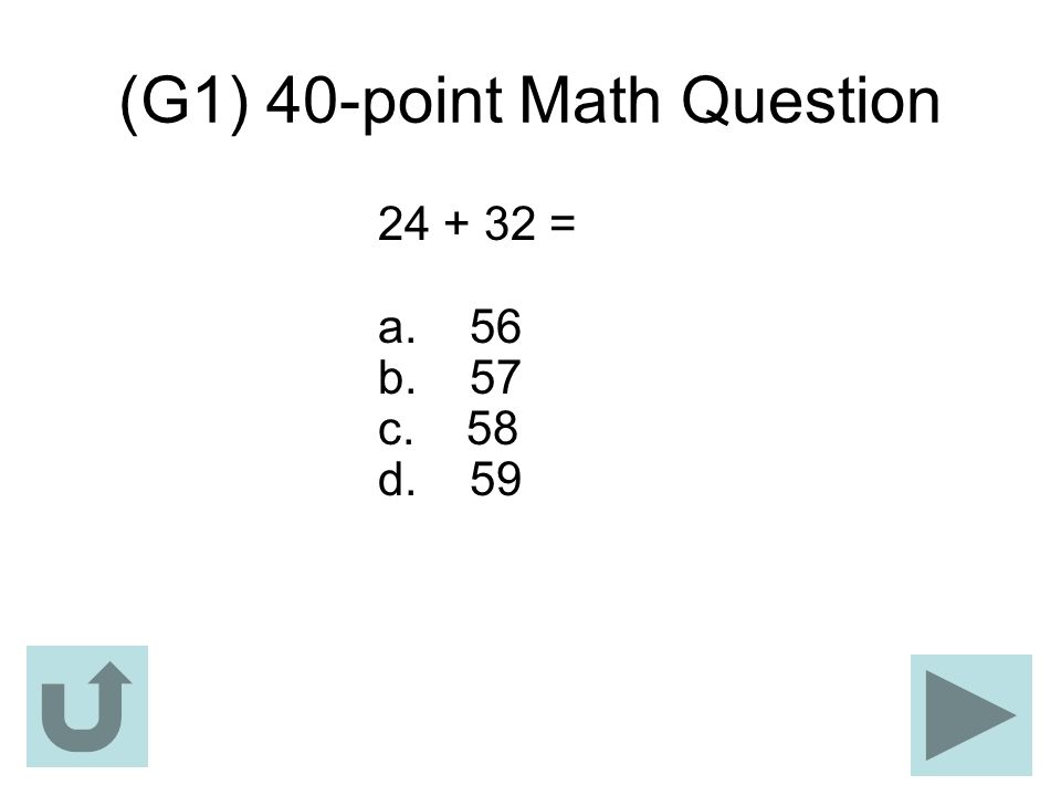 (G1) 40-point Math Question