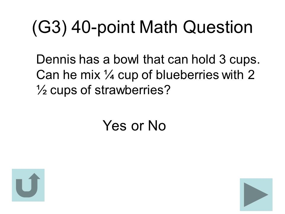 (G3) 40-point Math Question