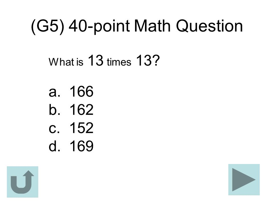 (G5) 40-point Math Question