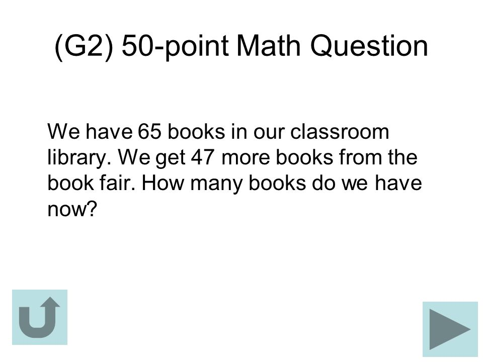 (G2) 50-point Math Question