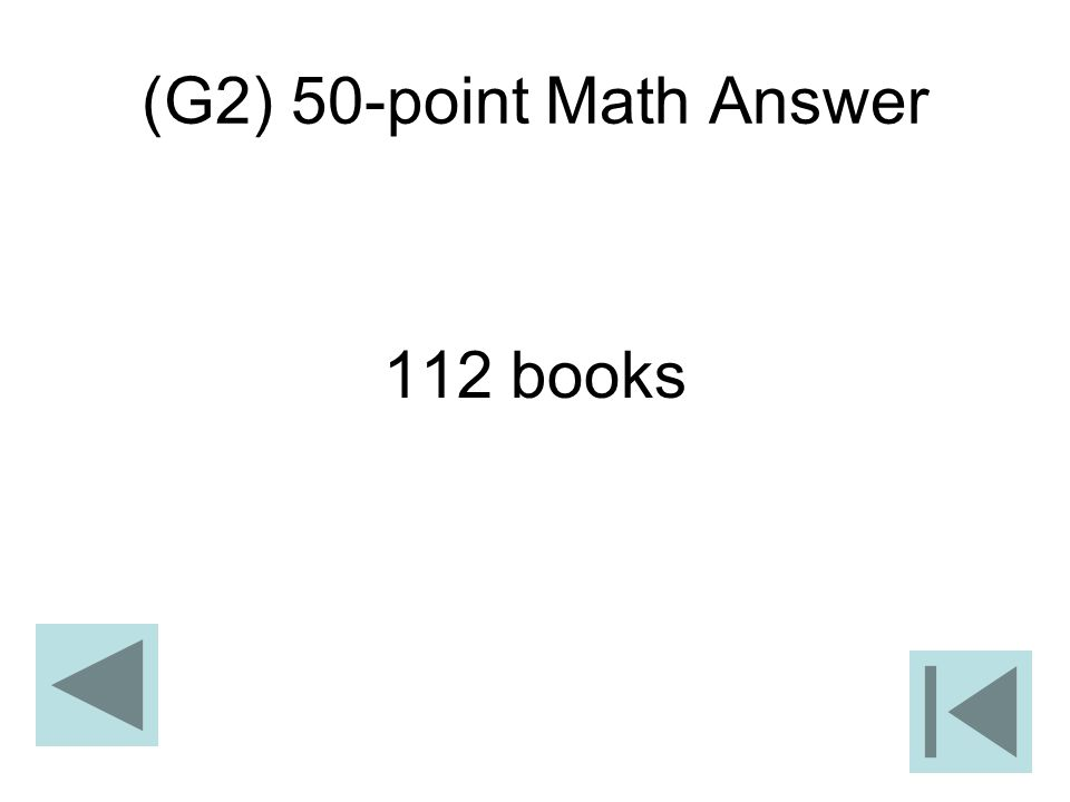 (G2) 50-point Math Answer 112 books