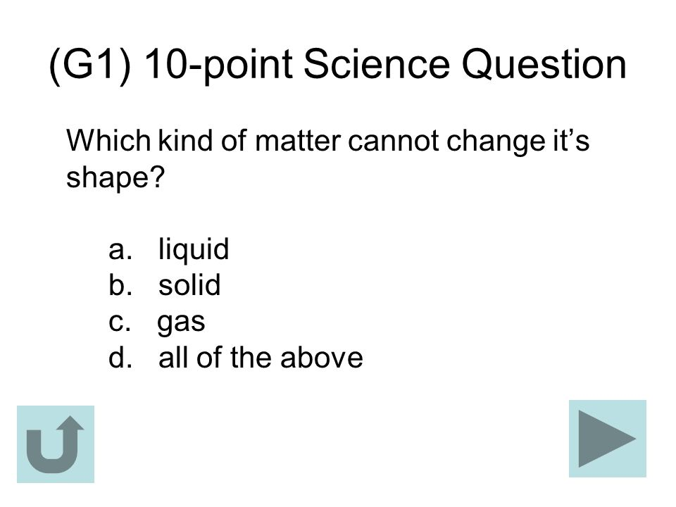 (G1) 10-point Science Question