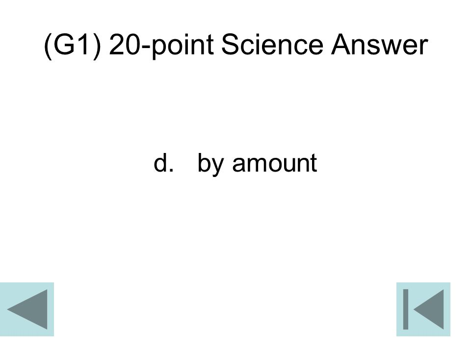 (G1) 20-point Science Answer