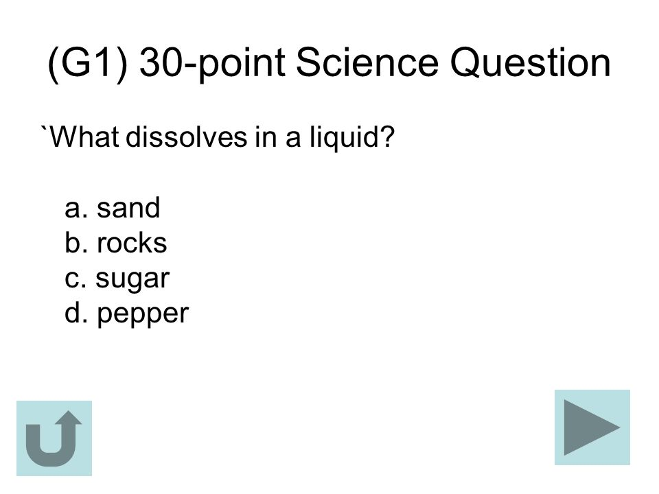 (G1) 30-point Science Question