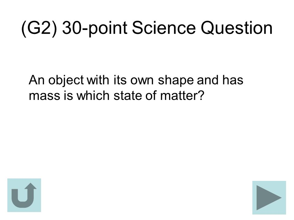 (G2) 30-point Science Question