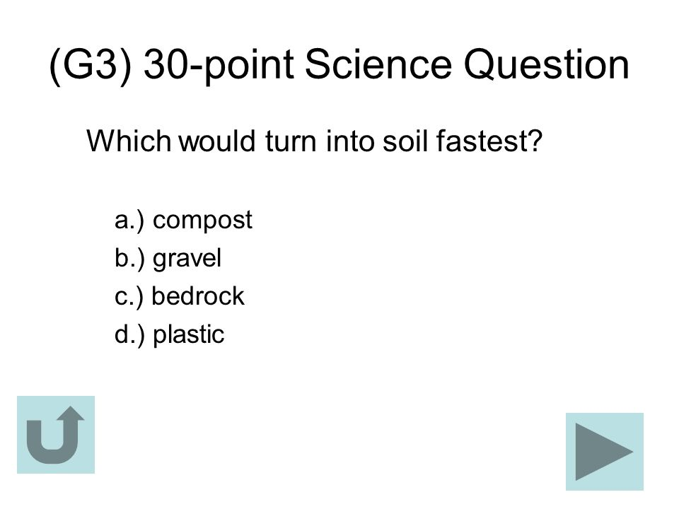 (G3) 30-point Science Question