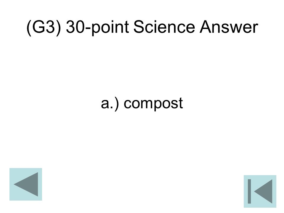 (G3) 30-point Science Answer