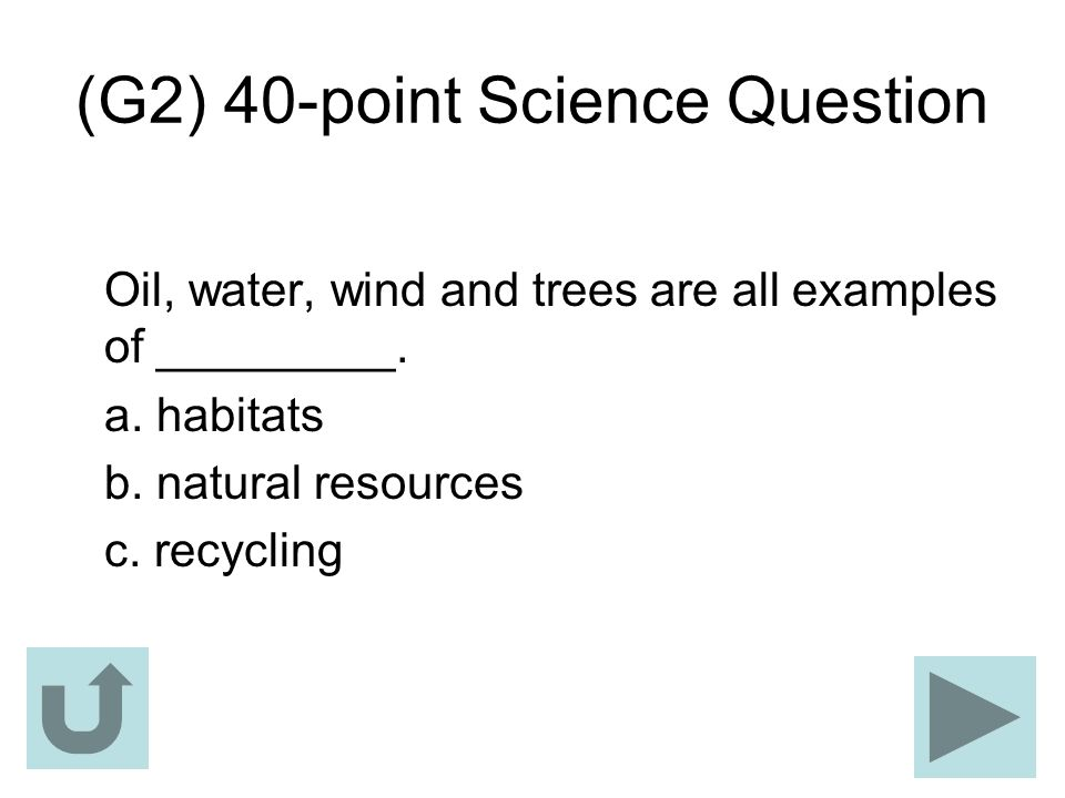 (G2) 40-point Science Question