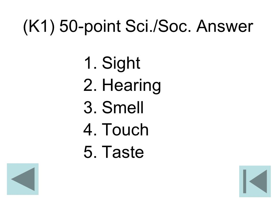 (K1) 50-point Sci./Soc. Answer