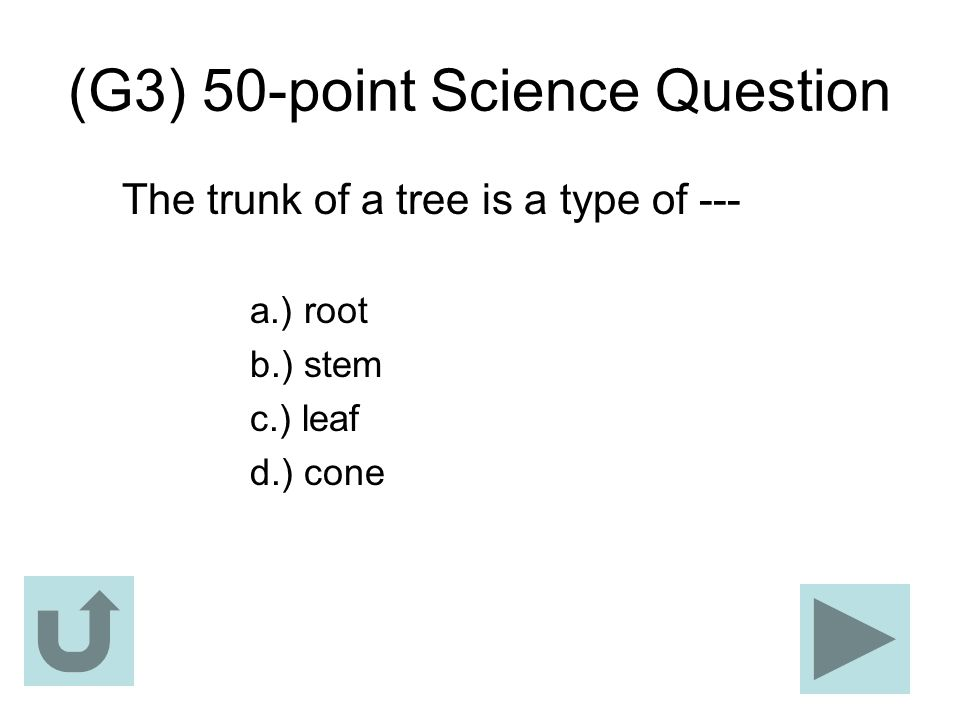 (G3) 50-point Science Question