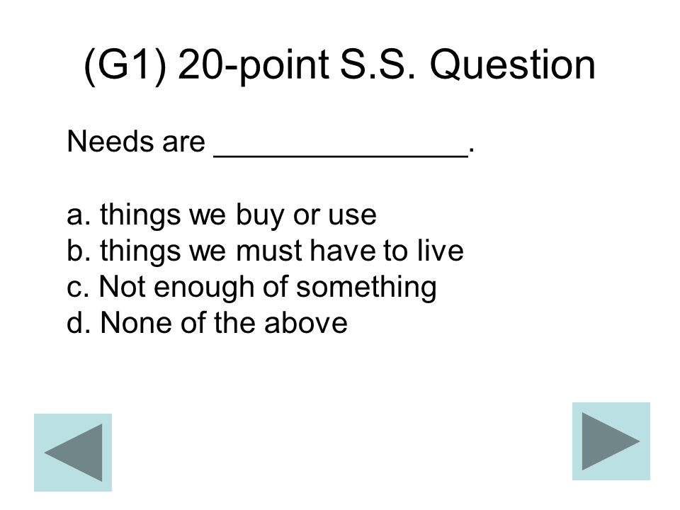 (G1) 20-point S.S. Question