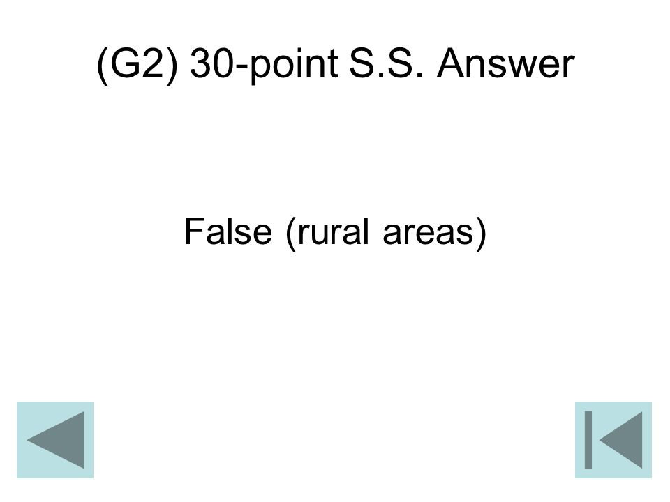 (G2) 30-point S.S. Answer False (rural areas)