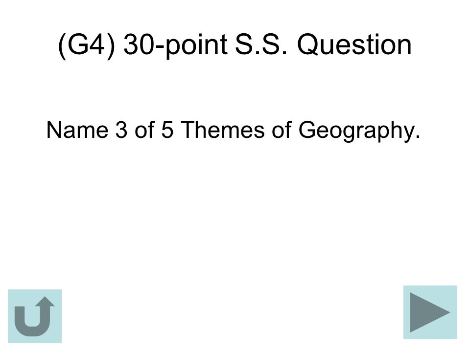 (G4) 30-point S.S. Question Name 3 of 5 Themes of Geography.