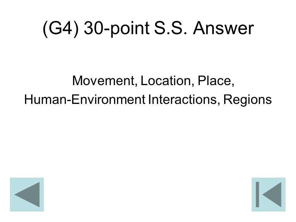 (G4) 30-point S.S. Answer Movement, Location, Place,