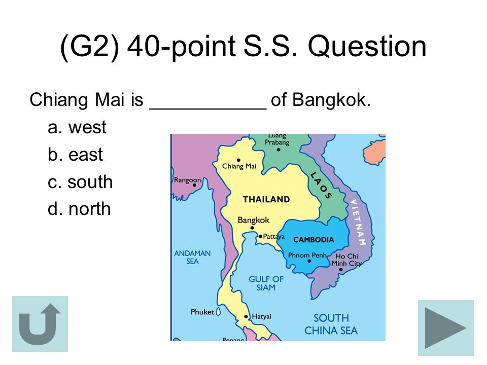 (G2) 40-point S.S. Question Chiang Mai is ___________ of Bangkok.
