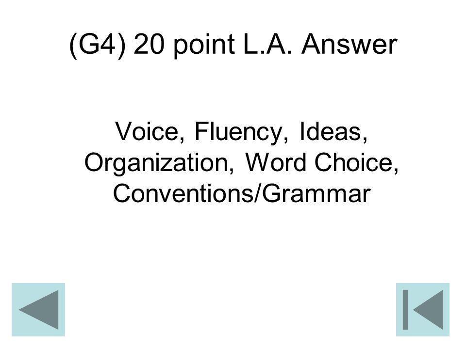 Voice, Fluency, Ideas, Organization, Word Choice, Conventions/Grammar