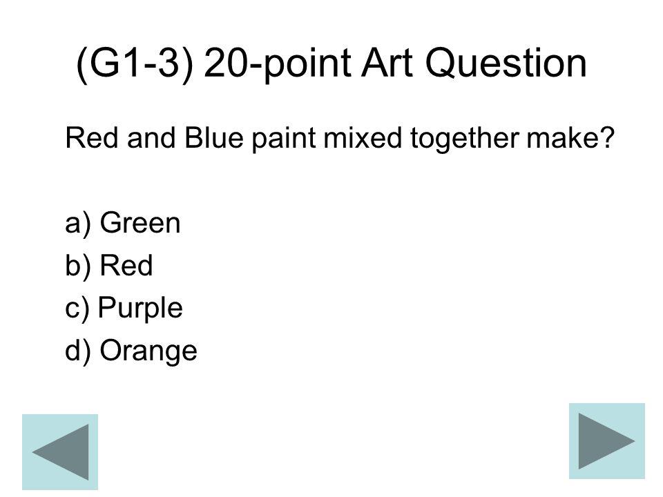 (G1-3) 20-point Art Question