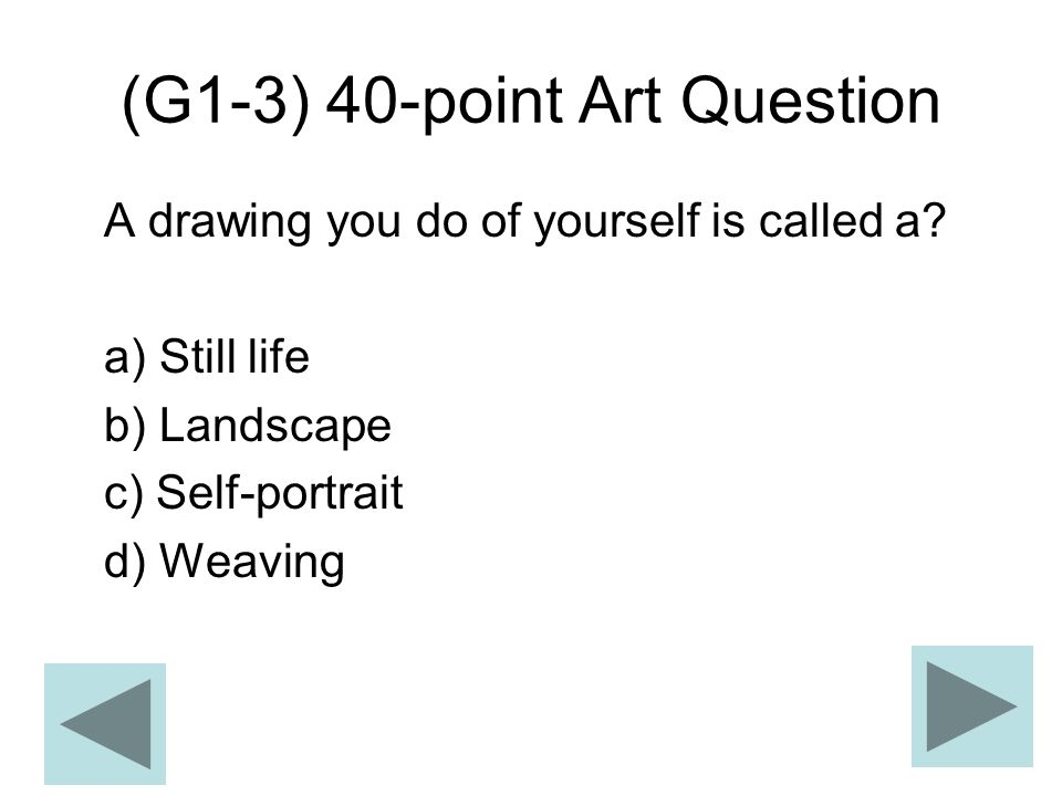 (G1-3) 40-point Art Question