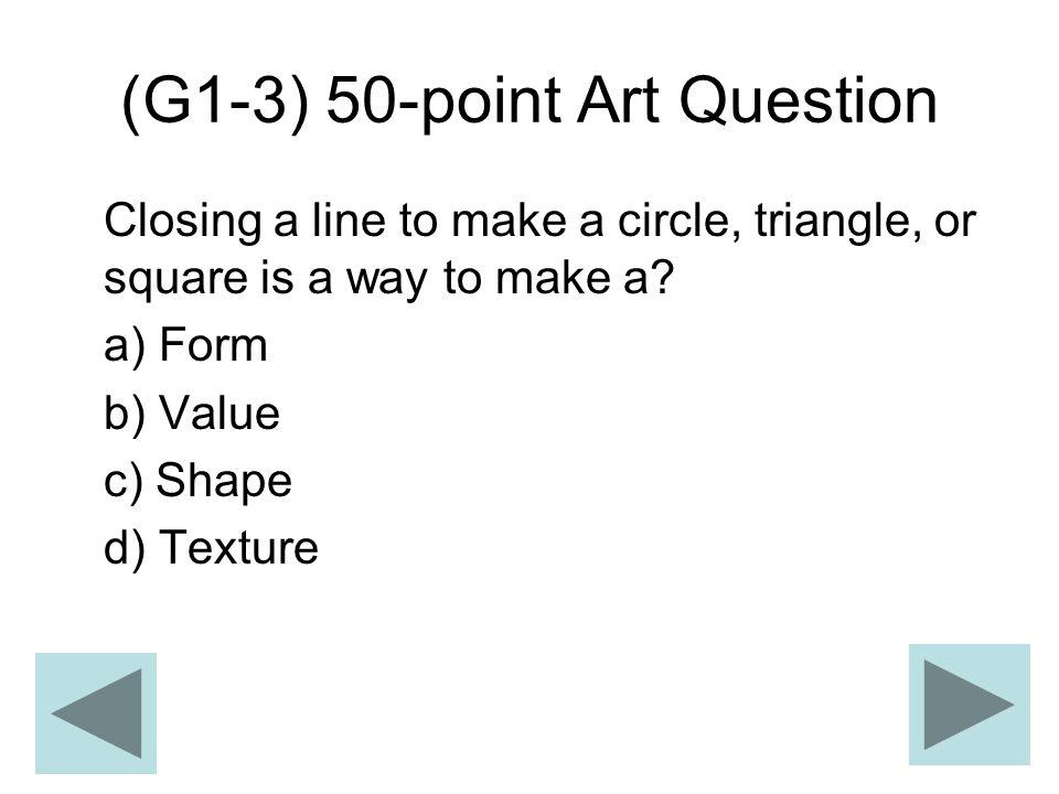 (G1-3) 50-point Art Question