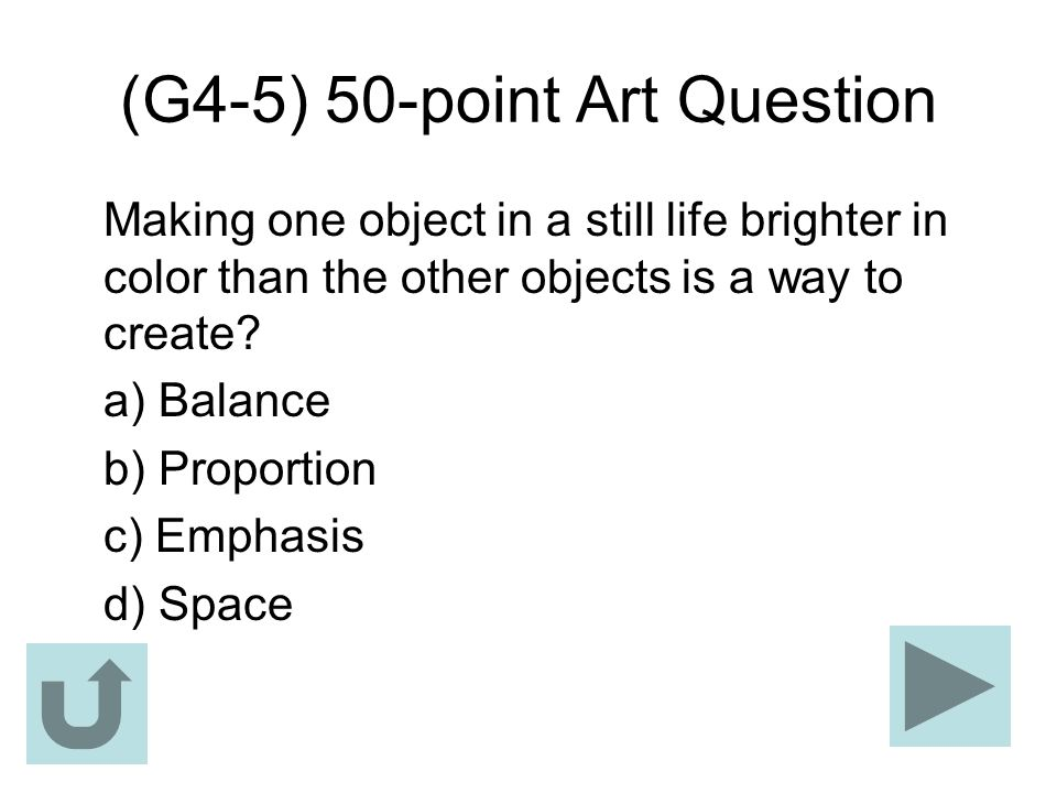 (G4-5) 50-point Art Question