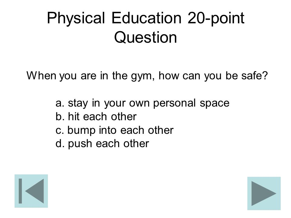 Physical Education 20-point Question