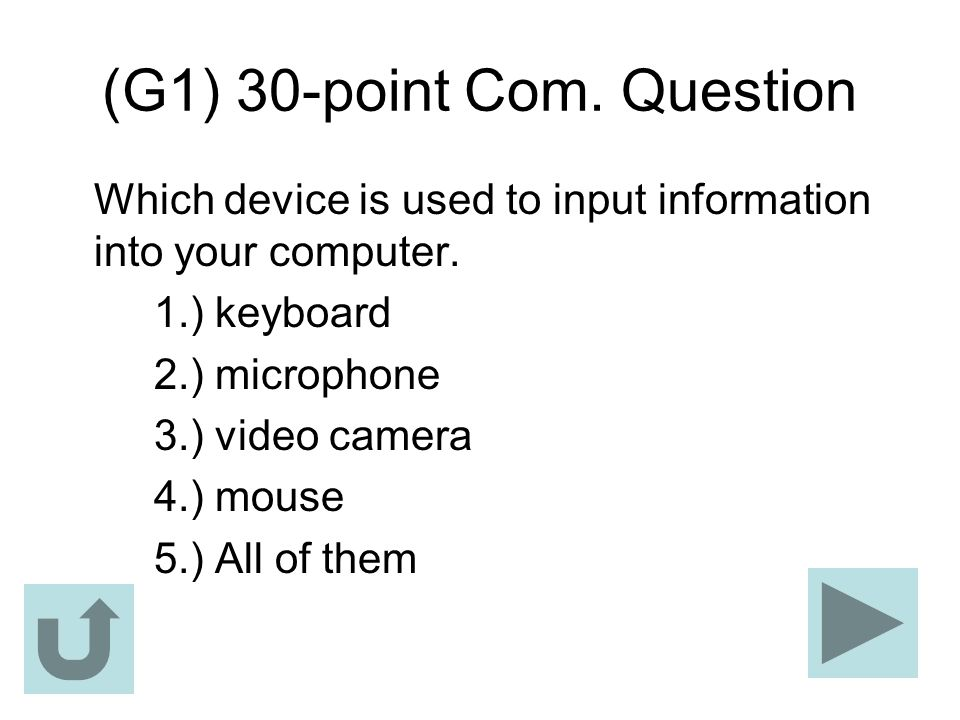 (G1) 30-point Com. Question